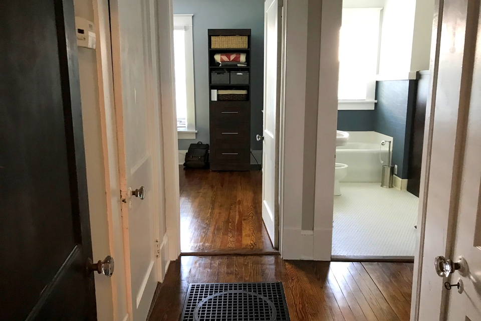 Doorway to Bathroom and Bedroom- Hardwood Floors