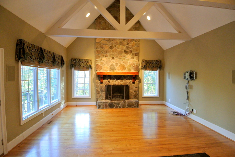 Den with Fireplace, Vaulted Ceilings