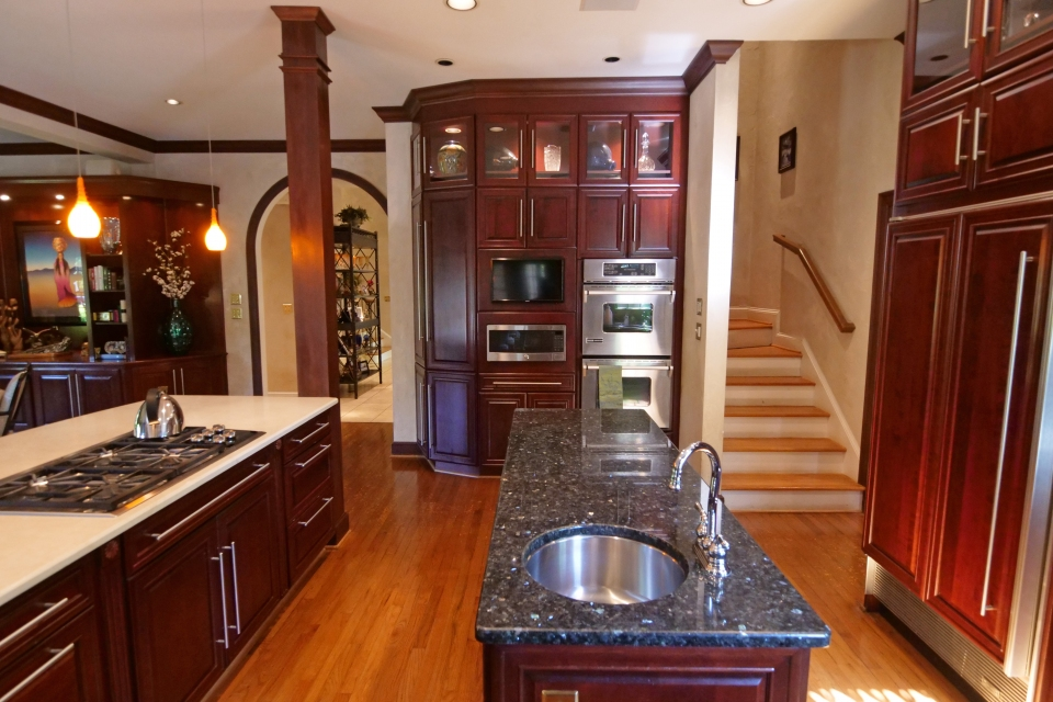 Kitchen - Island, Double Ovens, View of Stairs